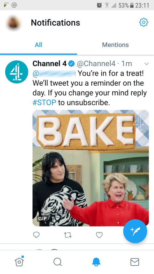 The Great British Bake Off Twitter Auto-Reply Confirmation